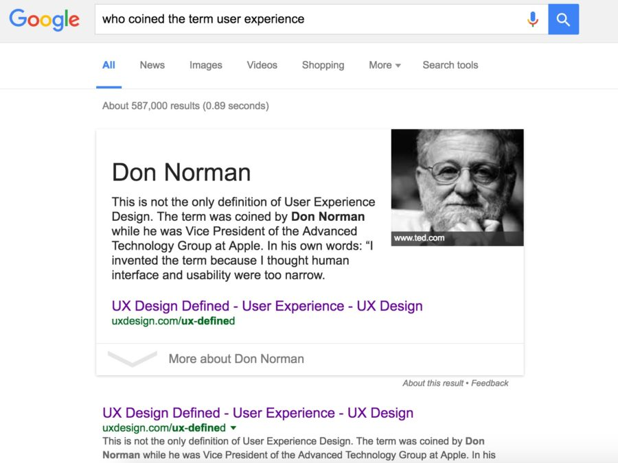 User interface of Google page