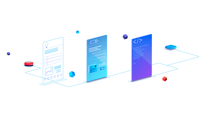 Three smartphone screens which symbolize three main steps to make website from scratch. These are web design, web development and web page content