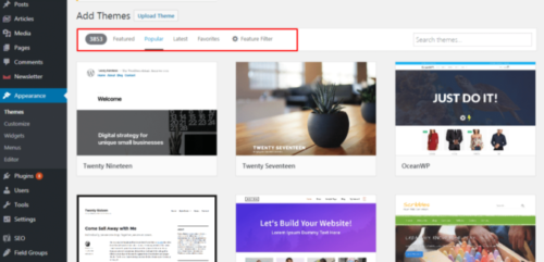 Choose and add the WordPress theme from WordPress website admin panel