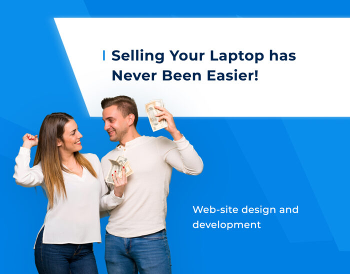 F5 Studio designed and developed the ecommerce website that sells used devices, a couple (man and woman) on backtound symbolizes an ability to sell or to buy an used device in the easy way