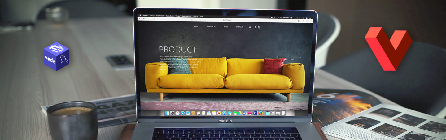 Home page of an ecoomerce website with yellow sofa