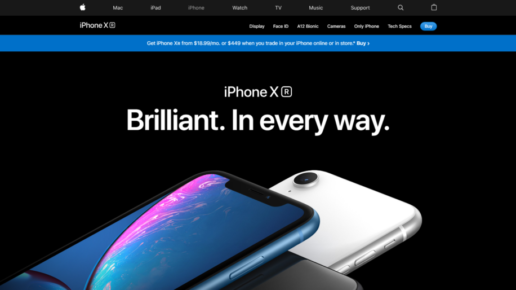 Black and white iphones lon a black background look very stylish on iPhone X page on Apple site.