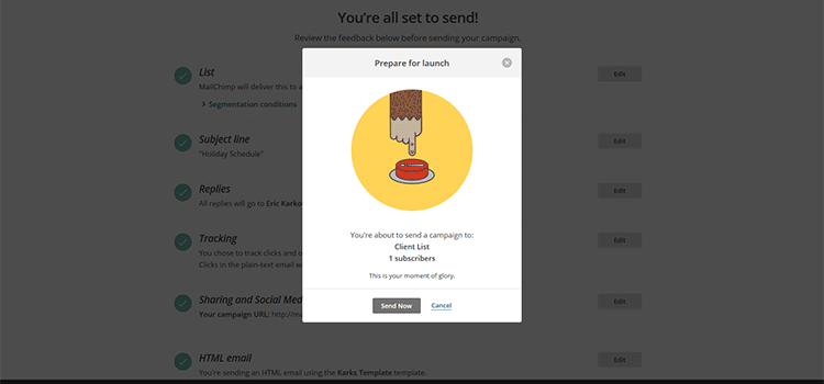 Call to action example on MailChimp