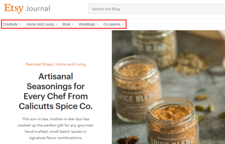 Example of the navigation section in the blog