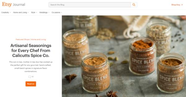 Etsy blog for online store