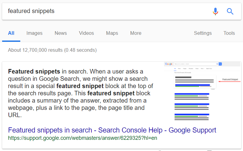 Featured Snippet in Google search results