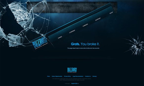 404 page from Blizzard website. The broken glass symbolize page issue