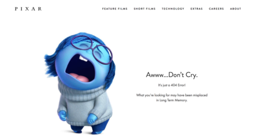 Pixar use a blue cartoon girl who is cring as a 404 page design. Aww... Don't Cry.
