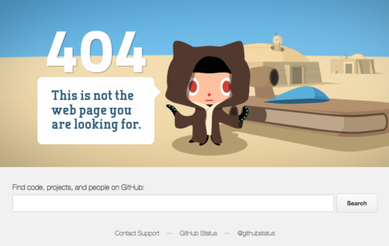 GitHub use cartoon boy in a bear costume with text this is not the web page you are looking for.