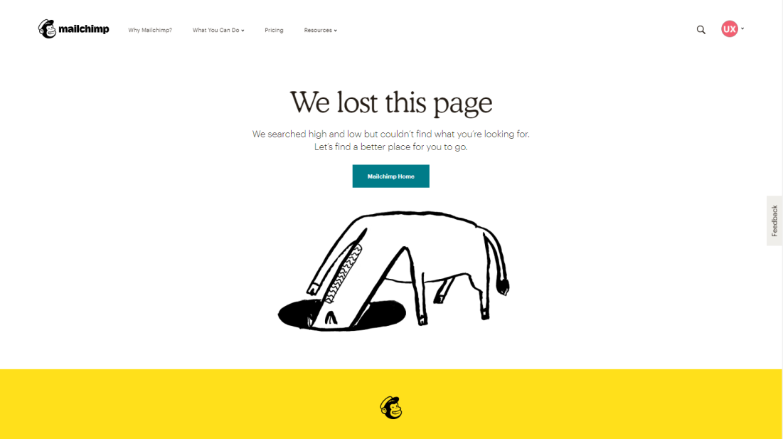 Example of 404 page MailChimp