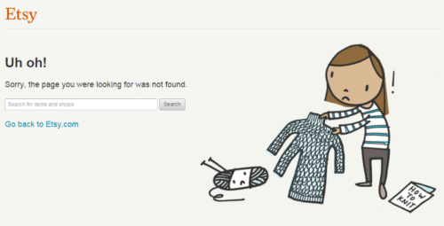 Example of 404 page ETSY includes cartoon women who knitted sweater with three steeves