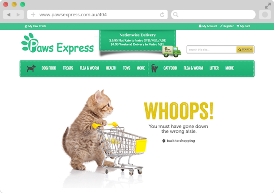 Example of 404 page Paws Express with kitty who pushed a supermarket trolley that looks funny
