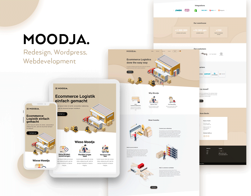New look of Moodja website on mobile, tablet and desktop