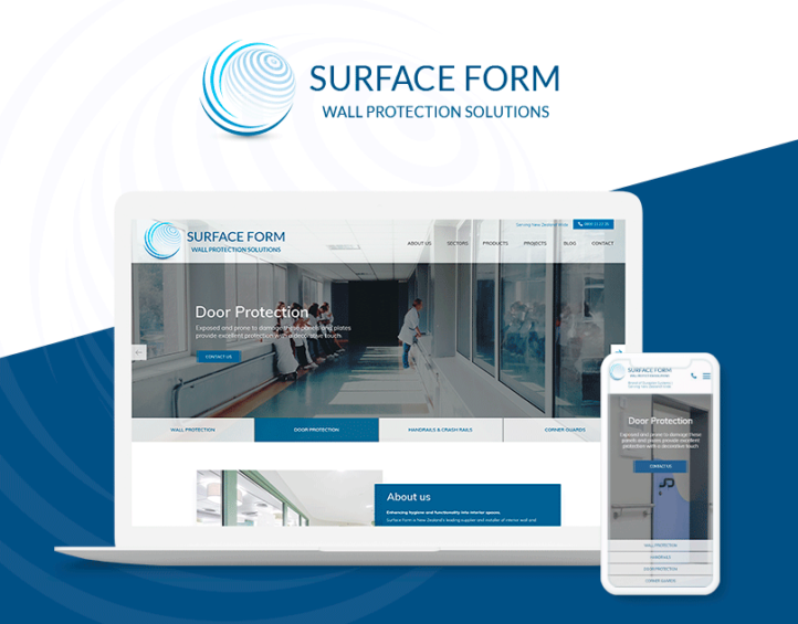 Surface form project, new website design on desktop and mobile