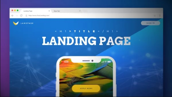 The common layout of landing paje that includes header and call-to-action