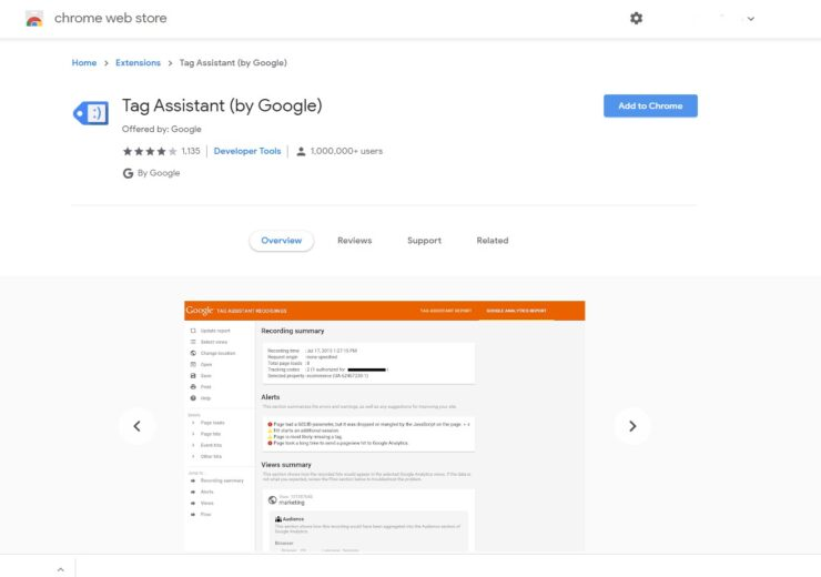 The screenshot og a page of Google Tag Assistant in Chrome sore that you can upload to check Google Analytics implementation.