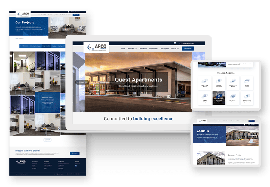 F5 Studio created the website for construction company ARCO to present their services