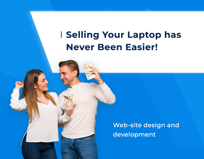 The preview of a presentation of ecommerce site were created by F5Studio with young man and youn women and they are happy to sell used laptop