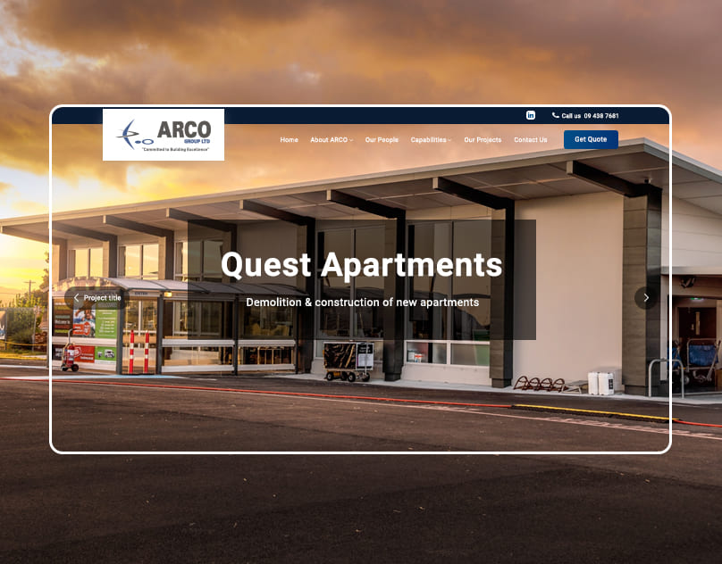 This preview shows a website of commercial constructor firm that present their buildings