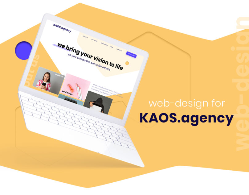 The preview of full presentation of redesigned website shows new color scheme and UX design on the laptopshows