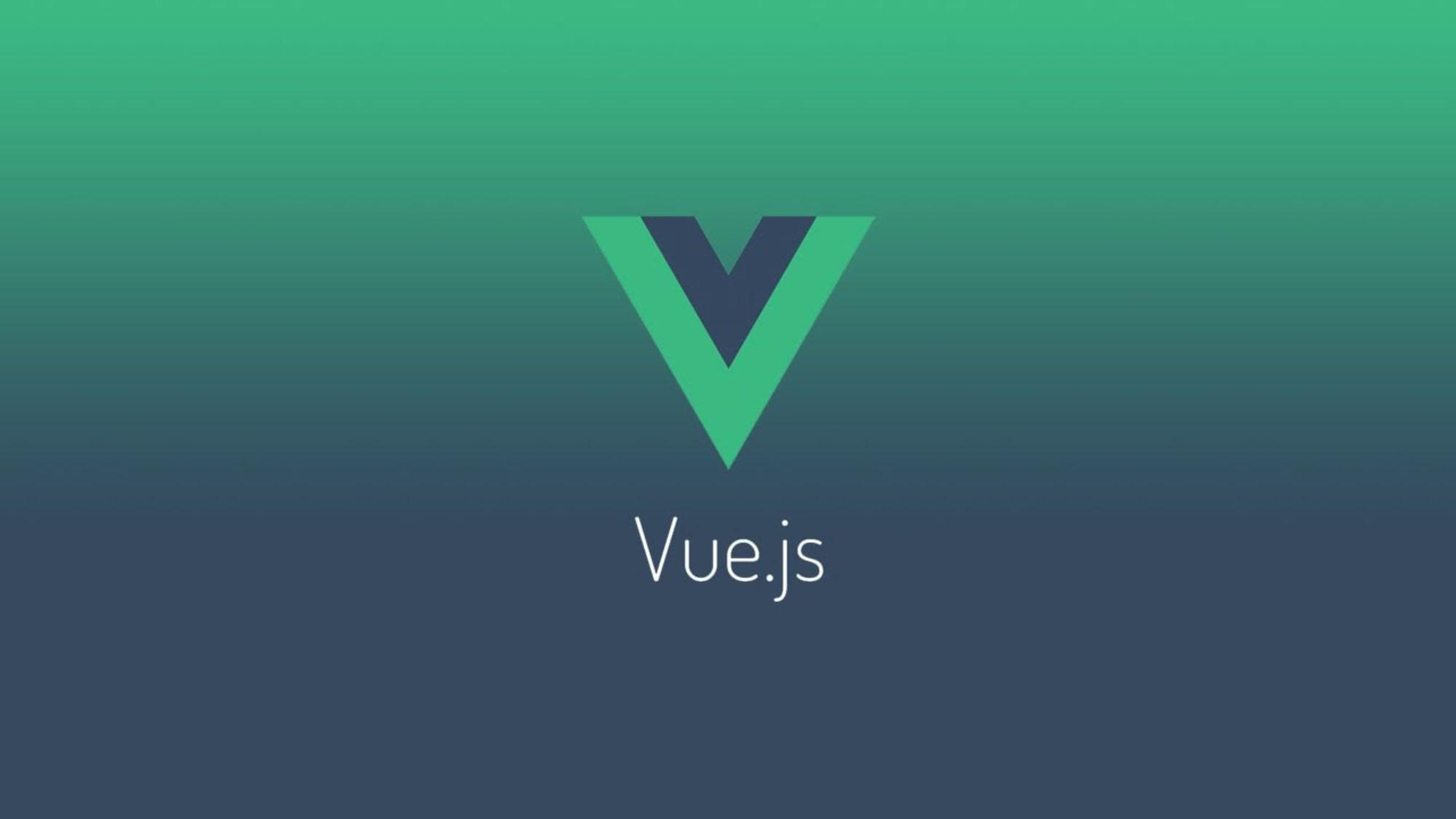 Vue.js logo on a brand color backround
