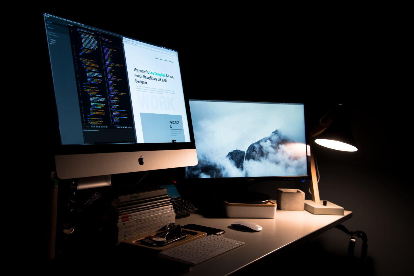 The web developer workplace in the dark room