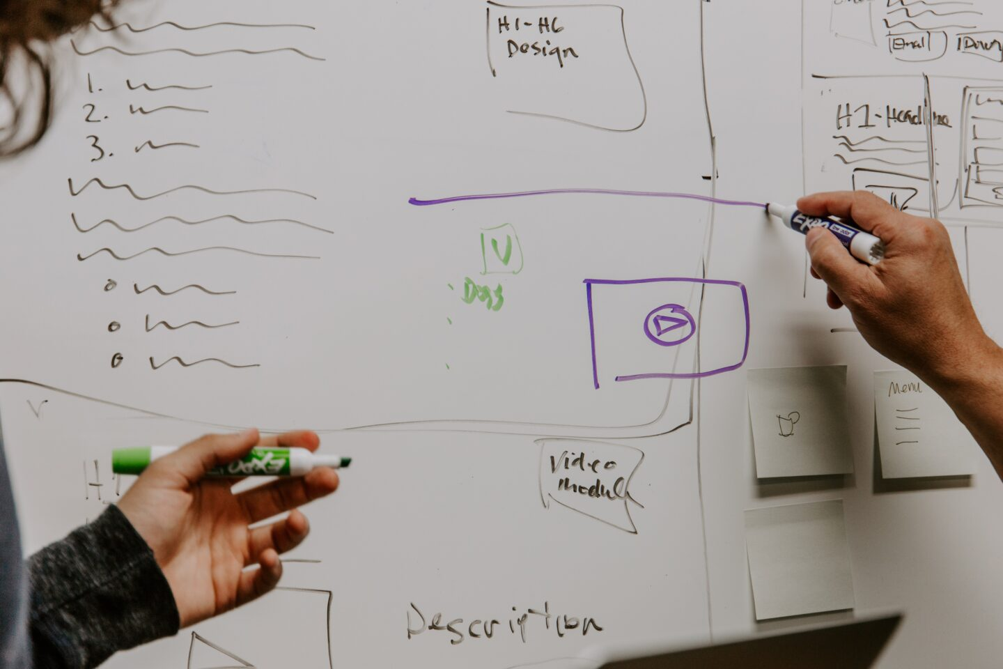 Two people discuss a website design concept and draw it on a white board.