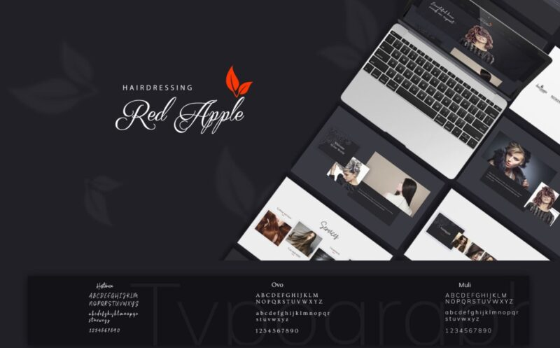 F5 Studio created a website for  the largest hairdressing salons in Ireland. It is preview of the full project presentation that shows website design and features on different devices on th black background
