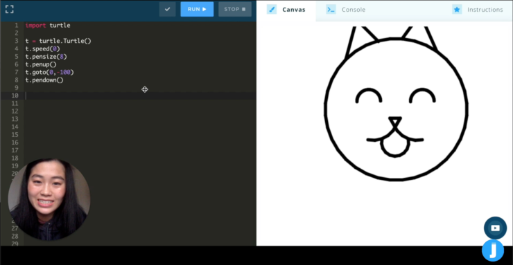 On the screen a mentor explain how to use graphic software to draw a simple image for example a cat