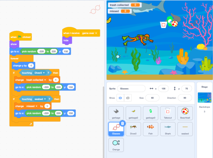 Screenshot of Scratch language
