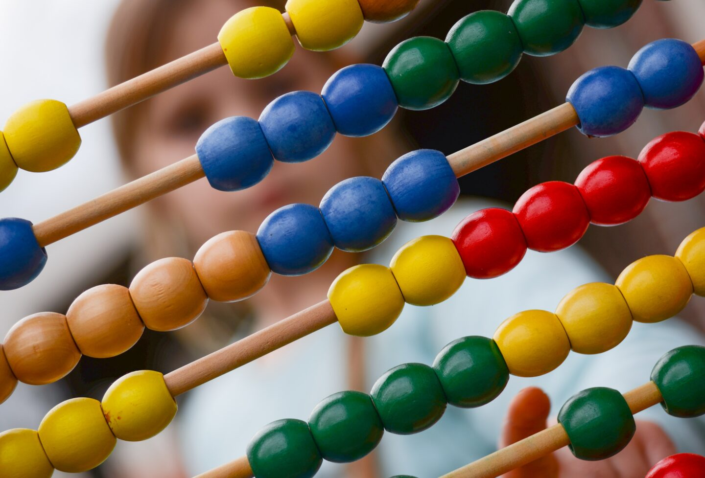 The abacus or a counting frame with color beads for kids
