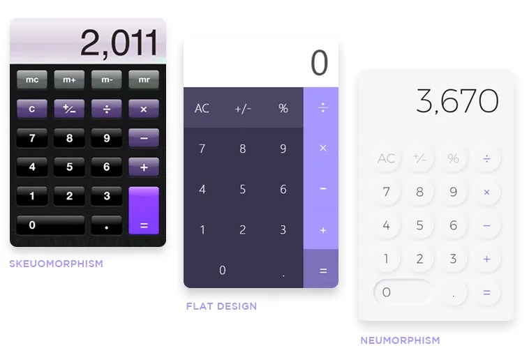 Shots of calculators help to compare Meumorphism with other design styles
