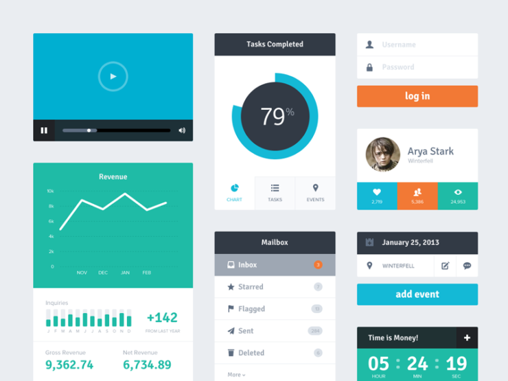 That is examples of UI elements which was created within Flat design style