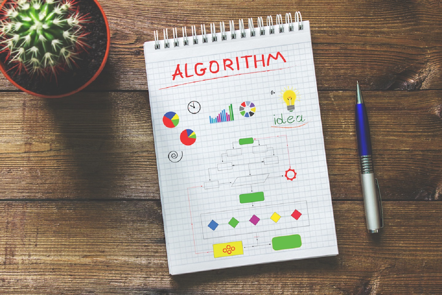 The notebook with geometric figures and schemes that shows algorithms
